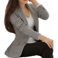 Women Plaid Blazers And Jackets Suit Ladies Long Sleeve Work Wear Blazer Plus Size Casual Female
