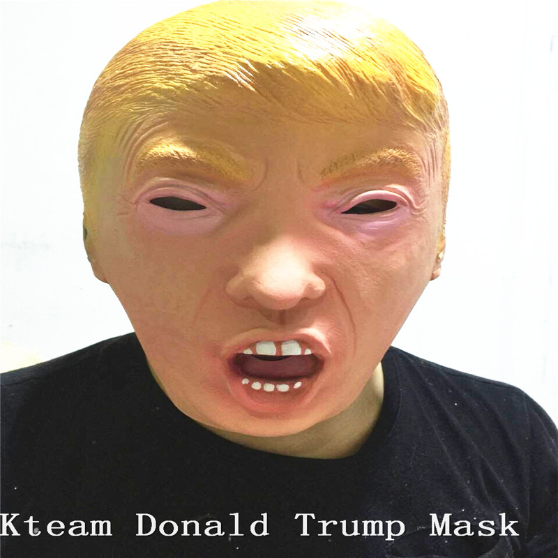 Hot!!!Donald Trump <font><b>Costume</b></font> Mask Halloween Realistic Masquerade Carnival Mask Putin Head Mask Obama Face Mask <font><b>Mr</b></font> <font><b>Bean</b></font> Fancy dress image