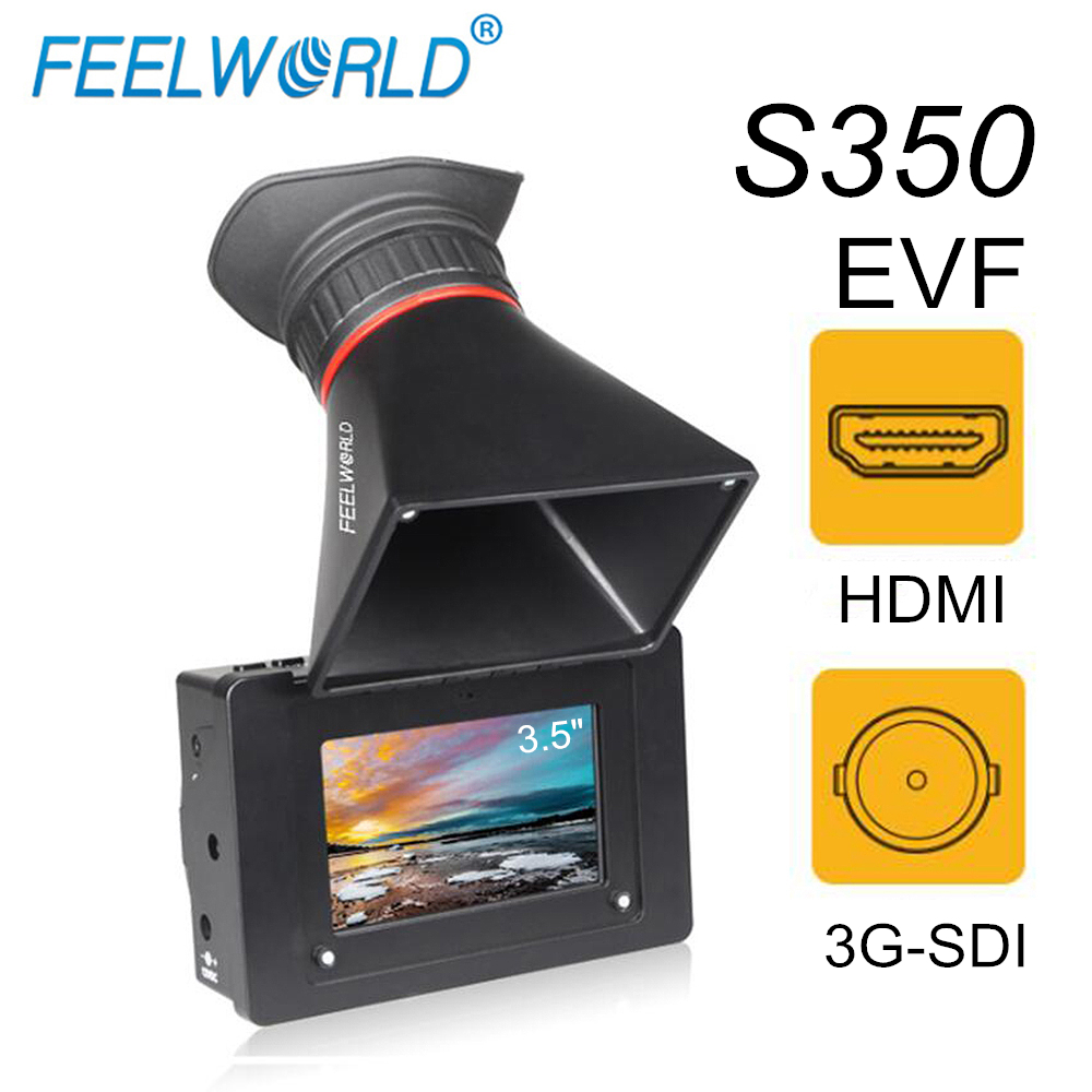"""FEELWORLD S350 3,5 """"EVF 3G SDI HDMI Elektronische View Finder 3,5"""" HD 800x480 LCD Display Lupe Lupe für DSLR Kamera-in Monitor aus Verbraucherelektronik bei  Gruppe 1"""