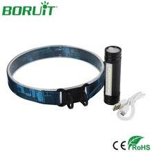 BORUiT 6 светодиодный налобный фонарь вспышка светильник USB Перезаряжаемый головной светильник портативный водонепроницаемый походный рыболовный Головной фонарь светильник с батареей