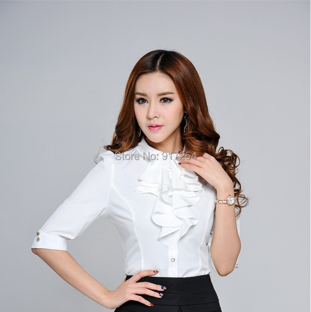 New Fashion Slim Half Sleeve Spring Summer Women's Blouses Formal Career Shirt For Office Ladies Work Wear Tops Plus Size XXXL