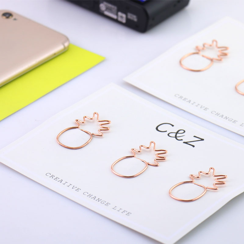 TUTU 3PCS/LOT Rose Gold Big Size Pineapple Paper Clips Metal Clip Bookmarks Storage Office Accessories Cute Paper Clips H0108