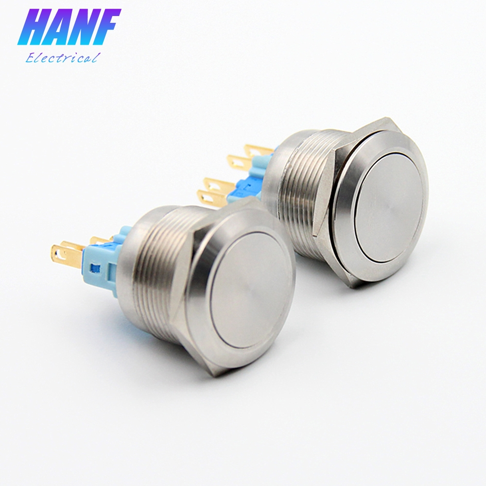 1pcs 22mm 1NONC Flat Head Momentary Stainless Steel Push Button Switch 4Pins 2A 220V