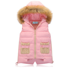 2016 Autumn/Winter vest with fur hood down coat children boy and girlthree colors 120cm-150cm two pockets