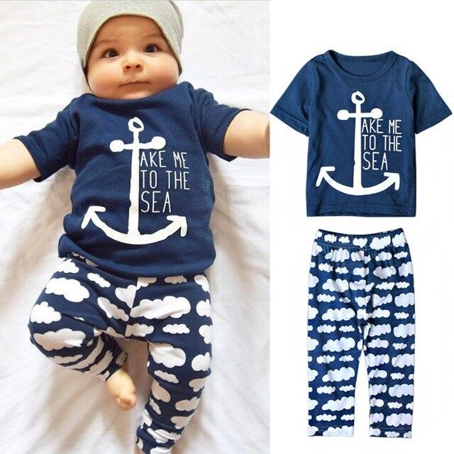 Puseky marino marinero bebé niños conjuntos de ropa ancla de manga corta Impresión de letras camiseta nubes pantalones largos 2 piezas recién nacido chica de tela