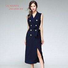 2017 Nouveau La maxPa printemps Designer Robe Femmes Haute Qualité cranté  Double Breasted Marine Bleu Mi-mollet Robe De Luxe Fem. f9a012e6ffed