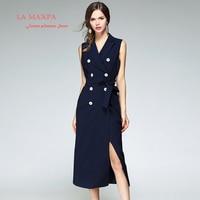 2017 Nova La maxPa primavera As Mulheres Se Vestem Designer de Alta Qualidade entalhado Double Breasted Azul Marinho Meados Bezerro Vestido Mulheres De Luxo vestidos