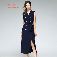 2017 New La MaxPa Spring Designer Dress Women High Quality Notched Double Breasted Navy Blue Mid