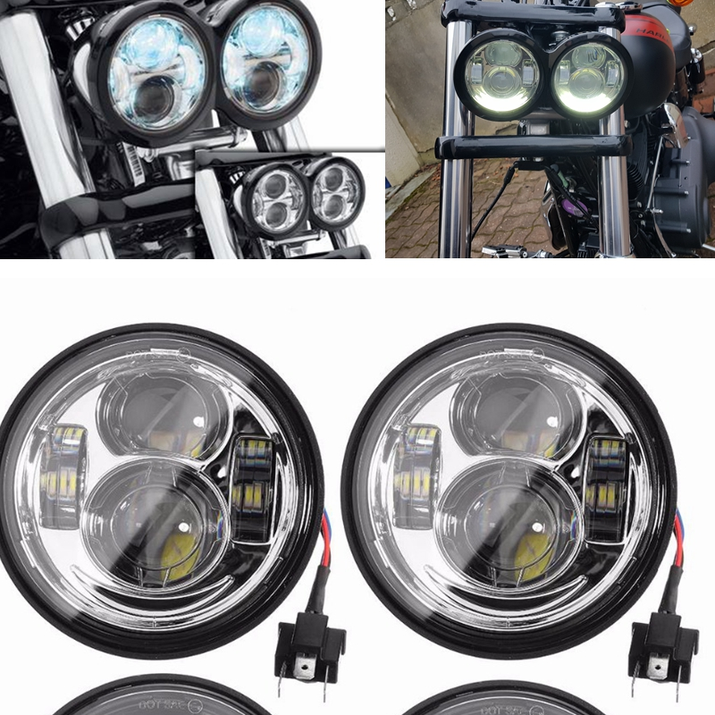Aspiring 4.65 Blackout Led Headlights Drl For Harley Dyna Fat Bob Led Lamp Headlight New For Harley Fat Bob Fxdf 08-16 15 Strong Resistance To Heat And Hard Wearing Home
