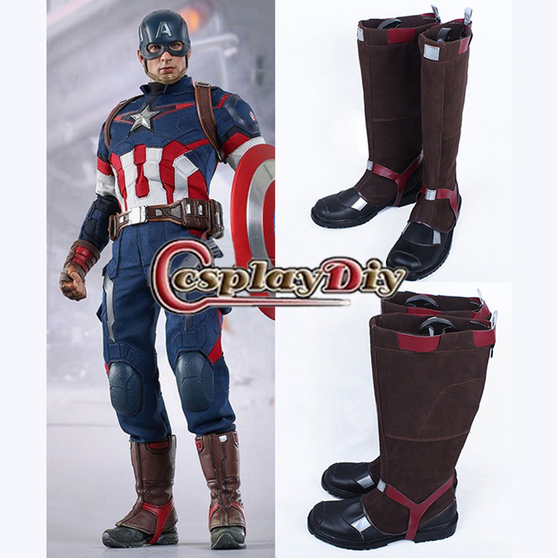 Captain America Avengers: Age of Ultron Steve Rogers PU Brown Cosplay Boots Shoes Custom Made hospital nurse call system 1 desktop lcd receiver 5 patient bell paging service shipping free