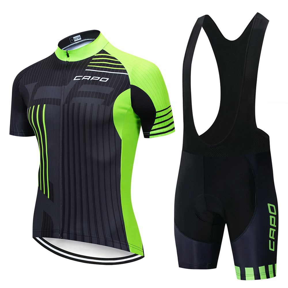 CAPO Pro TEAM AERO Cycling jersey And Bib shorts for Race cut Italy miti fabric jersey Top quality bib set for long time ride