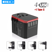 MEIDI Quick Charger Car Adapter Plug Suit For More Than 150 Countries 4 USB Type C QC 3.0 Socket