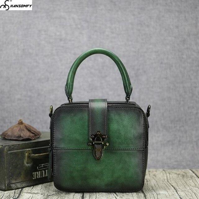 2018 New Women small square bag vegetable tanned cowhide leather color female handbag retro handmade Mini shoulder messenger Bag