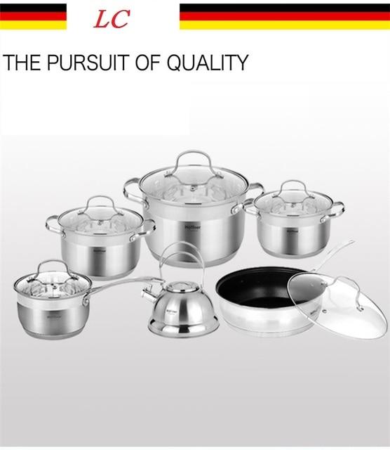 Cerole Stainless Steel Memasak Panci Dan Pot Wajan Ketel 12 Pcs Peralatan Dapur Set