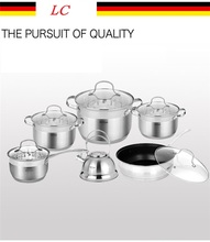 Casseroles stainless steel cooking pans and pots frypan kettle pots 12pcs kitchen utensils set