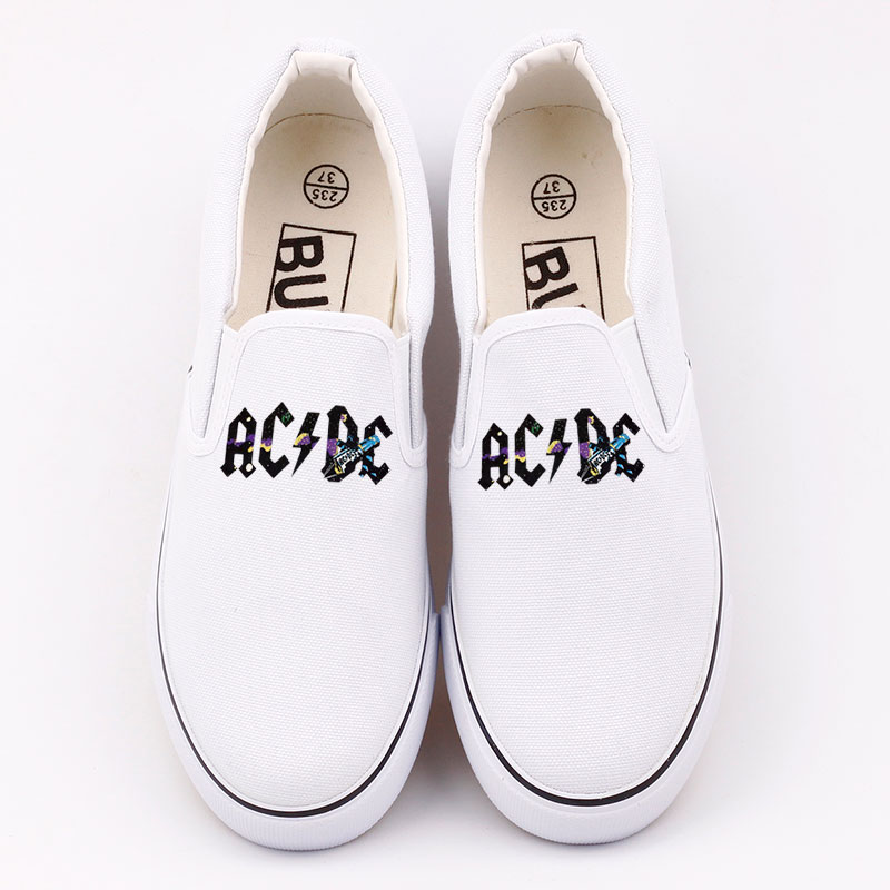 E-LOV Rock And Roll Printed Heavy Metal Music Band Canvas Shoes Women Loafers Casual Flat Shoes Woman Summer Slip On Lazy Shoes