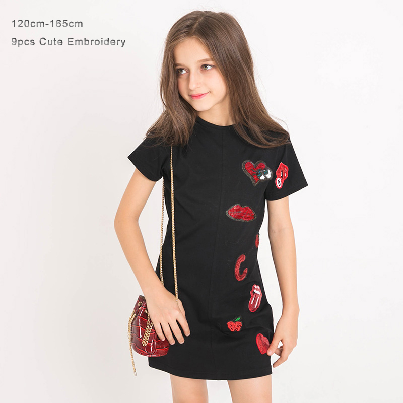 Fashion Summer Girls Dress Sequined Black Color Short Sleeve 100% Cotton Kids Girls Dress Long T Shirt for Teenage Girl 120-165 butterfly patterned teenage girls long sleeve t shirts top 2016 fall new kids girls hoodies sweatshirts black white cotton tee