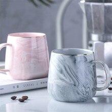 Роскошные Мрамор узор Керамика кружка Позолоченные с кружки с ручкой утро молоко чай кофе чашки Розово-серый подарок для пары бытовой 1 шт