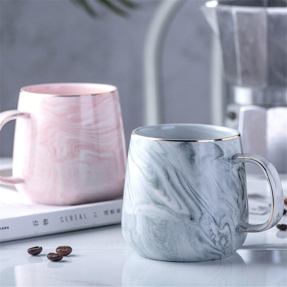 1 Thé En Luxe Poignée Café Céramique Or Cadeau Modèle Lait Gris Tasse De Matin Couple Ménage Avec Tasses Plaqué Marbre Rose Pièces q3RcAj45LS