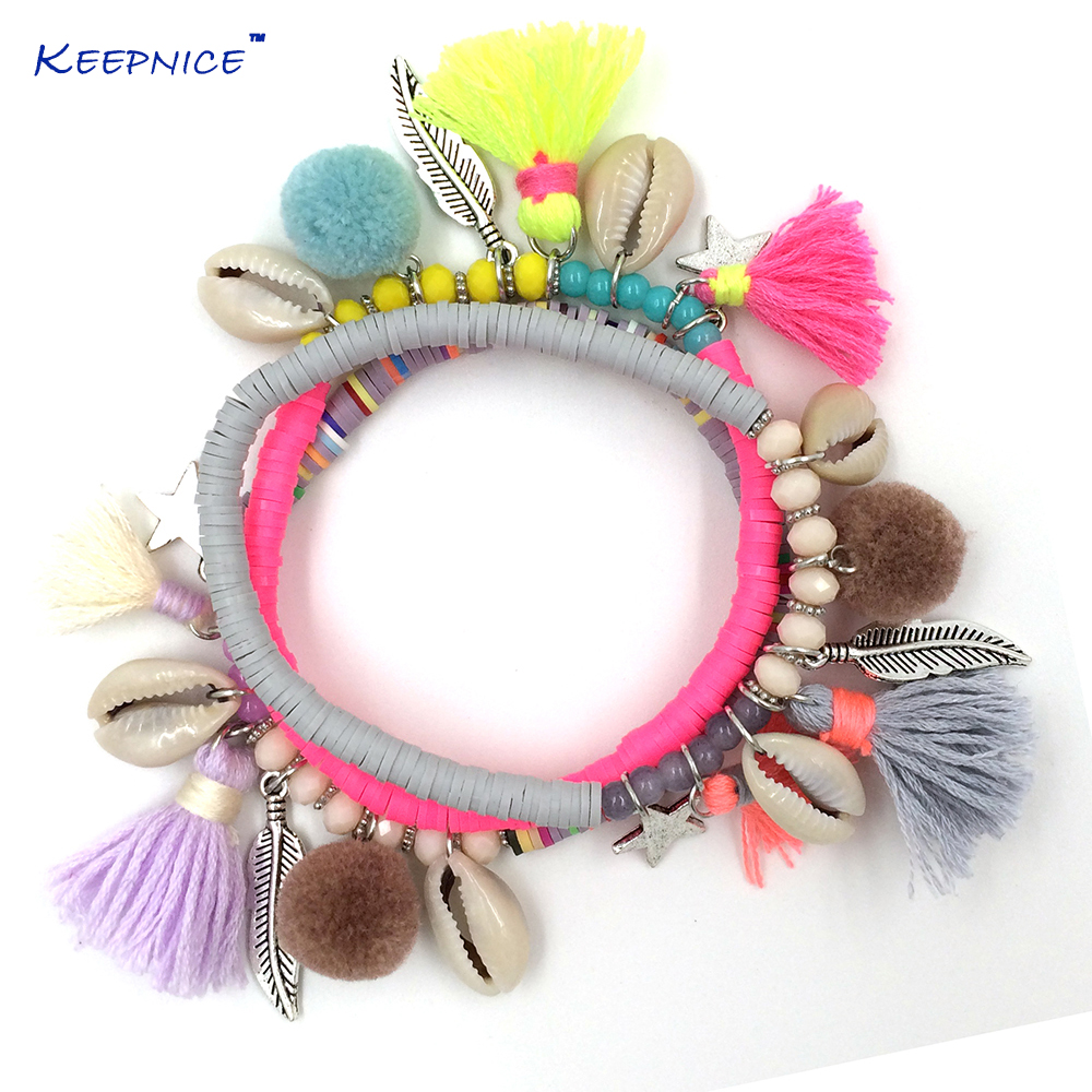 New European Boho Jewelry Suppliers handcrafted bracelet Polymer clay beaded bracelets with tassel coin charm bracelet