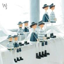 Креативные деревянные темно-синие подвесные куклы семья из четырех средиземноморских украшения для дома