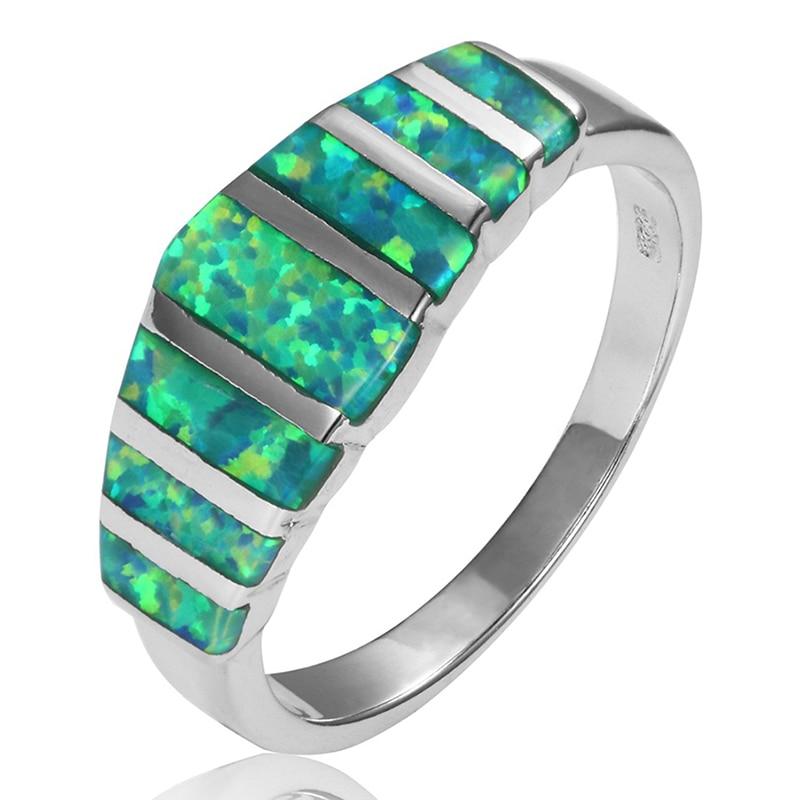Anillos de boda de lujo arcoíris de fuego caliente/ópalo verde para mujer joyería de moda ópalo plateado anillo de compromiso Bague Bijoux Femme