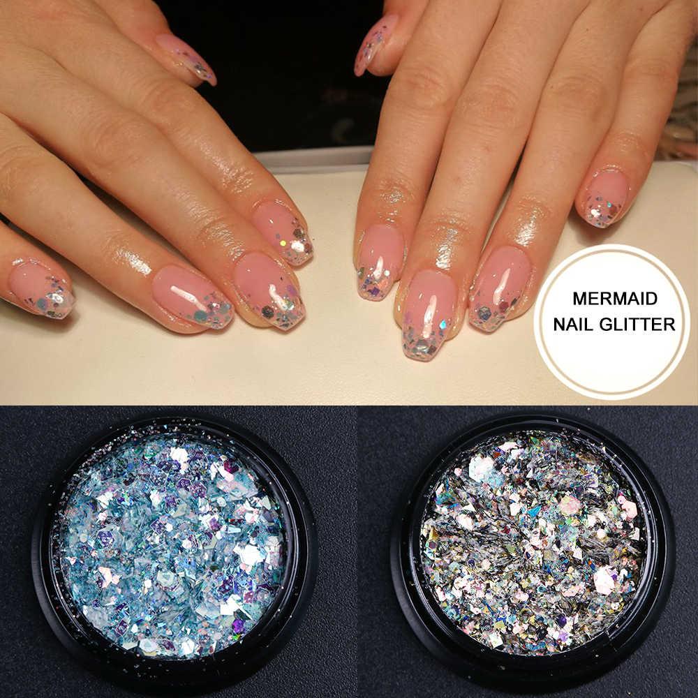1 kutu Holo Nail Art Glitter pul Mermaid altıgen pul parlak krom pigment tozu jel tırnak sanat dekorasyon ucu CHDH01-11