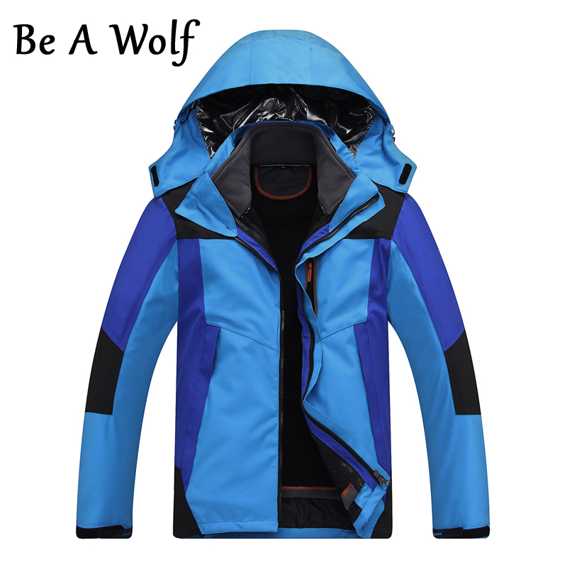 Be A Wolf Men's Inner Fleece 2 In1 Waterproof Jacket Outdoor Sport Warm Coat Hiking Camping Trekking Skiing Male Jackets 014#