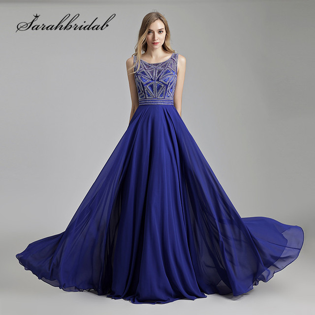 e8472524004 Royal Blue Long Prom Dresses 2018 New Beaded Top Crystals Chiffon Zipper  Back Party Evening Gowns A Line Floor Length CC486