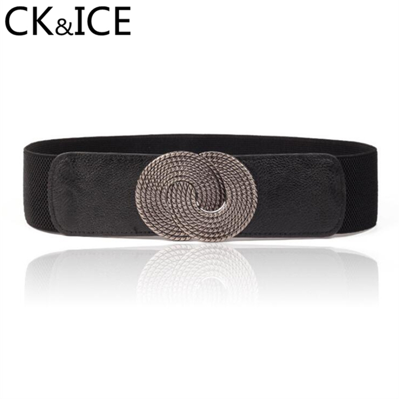 CK&ICE Vintage Chinese Element Faux Leather Elastic Band Belts Female Geometric Pattern Decoration Ceinture Femme Women Belt