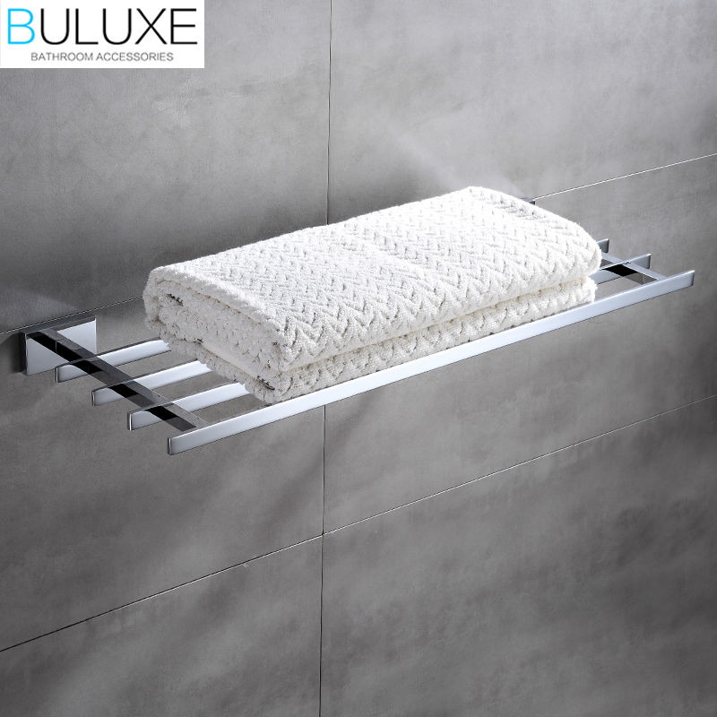 BULUXE Brass Bathroom Accessories Towel Bar Rack Holder Chrome Finished Wall Mounted Bath Acessorios de banheiro HP7760