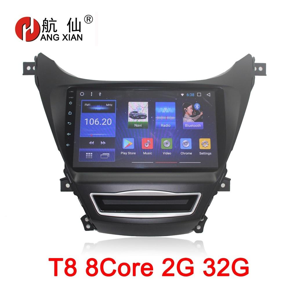 9 pouce Android 8.1 Octa 8 Core 2g RAM 32g ROM Lecteur DVD de Voiture pour Hyundai Elantra 2012 -2016 Autoradio GPS Navigation BT WIFI Carte