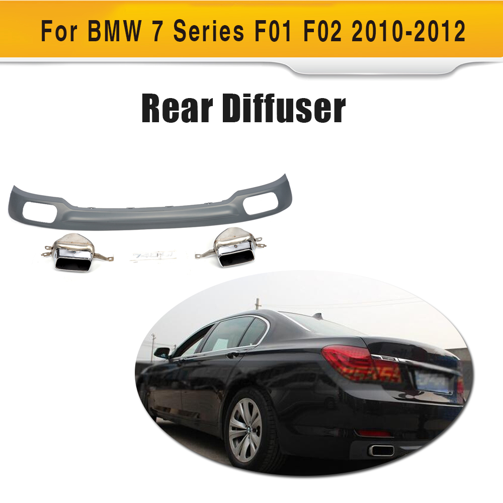7 Series Rear Bumper lip diffuser with Exhaust muffle tips for BMW F01 F02 Standard Bumper 2010-2012 730i 740i 2pcs white daytime running lights drl led fog lamp for bmw 7 series f01 f02 730i 740i 750i 760i 2009 2012
