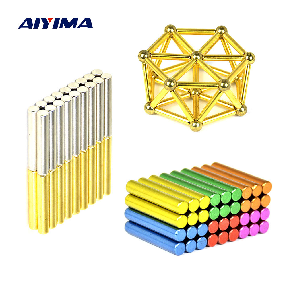 Aiyima 1Set Magnet Balls 8mm Neodymium Magnet Bars Magnetic Force Toy Metal Balls Construction Creative DIY Gifts Imanes NdFeB 8mm neodymium magnet sphere steel balls diy puzzle set silver 20 pcs
