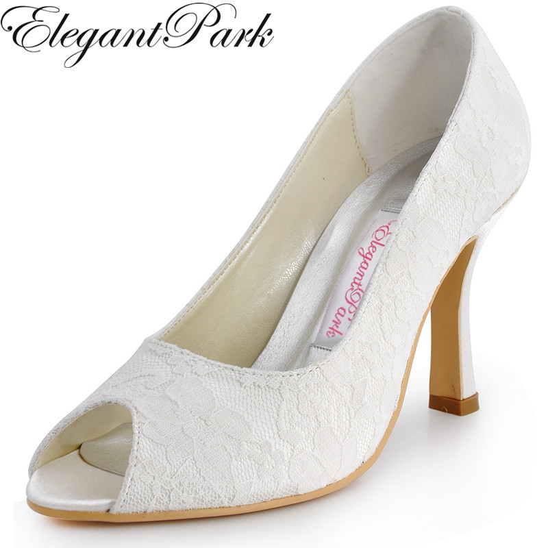 Shoes Woman EP11013-35 White Ivory Peep Toe High Heel Slip on Lace Bride Women's Wedding Bridal Pumps Lady Evening Party Shoes sequined high heel stilettos wedding bridal pumps shoes womens pointed toe 12cm high heel slip on sequins wedding shoes pumps