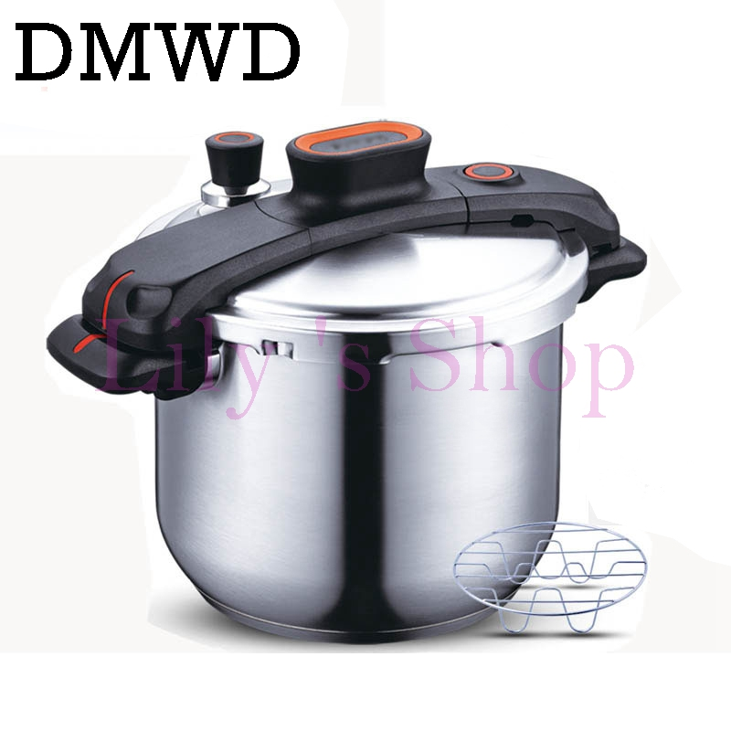 DMWD 304 stainless steel pressure cooker pressure cooker 7.6L gas cooker Universal ON gas induction cooker 220v 600w 1 2l portable multi cooker mini electric hot pot stainless steel inner electric cooker with steam lattice for students