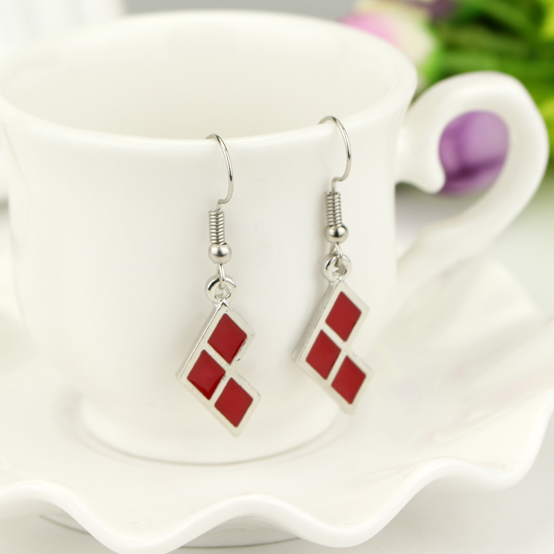 Fashion Jewelry Suicide Squad Earrings Silver Red Enamel Geometric Earrings For Women and Girls Gift