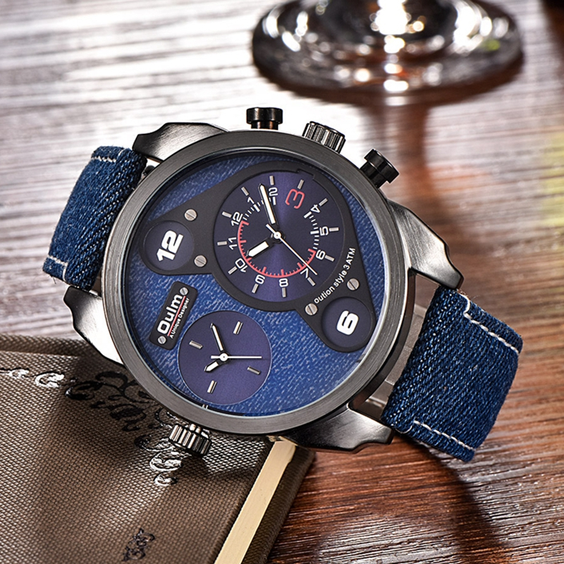 Oulm Sports Denim Men Wristwatch Luxury Brand Dual Movement Quartz Clock Casual Canvas Wrist Watches Male Military Big Watch oulm big dial quartz watch men military black color genuine leather band casual man wrist watches luxury unique style male clock