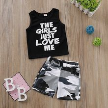 New Boys Baby Clothes Sleeveless Letter Print Tops Blouse T-shirt+Camouflage Shorts Casual Outfits Sets