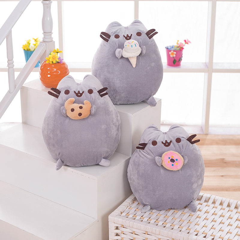 1pcs 25cm Cute Animal Soft Pillow Cookie Cat Plush Toys Stuffed Doll Birthday Presents For Children Kids Bedroom