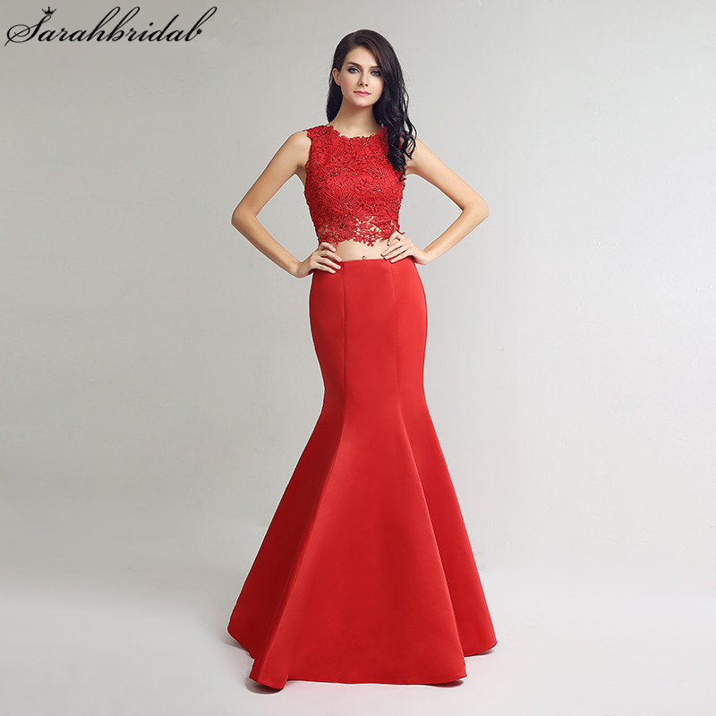 Two Pieces Floor Length Evening Dresses Lace Appliques Crystal ...