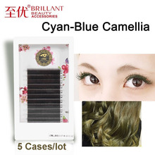BRILLANT 5 Cases Camellia Classic Best Stuffy Cyan Grafting False Eyelashes 0.07 Coarse Soft Hair Beautiful Ciliary Plant Salon