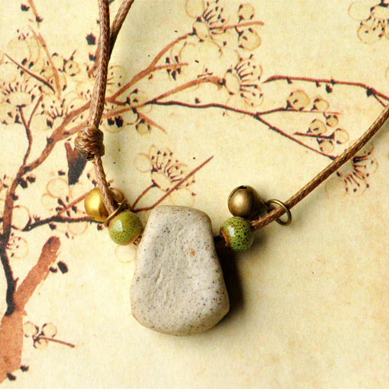 Маленькие пчелы керамические бусины подвески ожерелья Женская тканая чокер с цепочкой Регулируемый Бронзовый колокольчик эффектный Шарм этнические ювелирные изделия