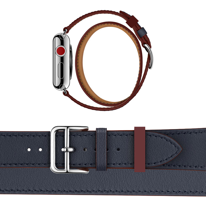 For Apple Series Newest Office Band Double Tour Watchbands Genuine Leather Strap For Apple Watch 1 2 3 herm Bracelet 38mm 42mm fohuas series 2 1 genuine leather loop for apple watch band double tour 42mm for apple watch leather strap 38mm bracelet women