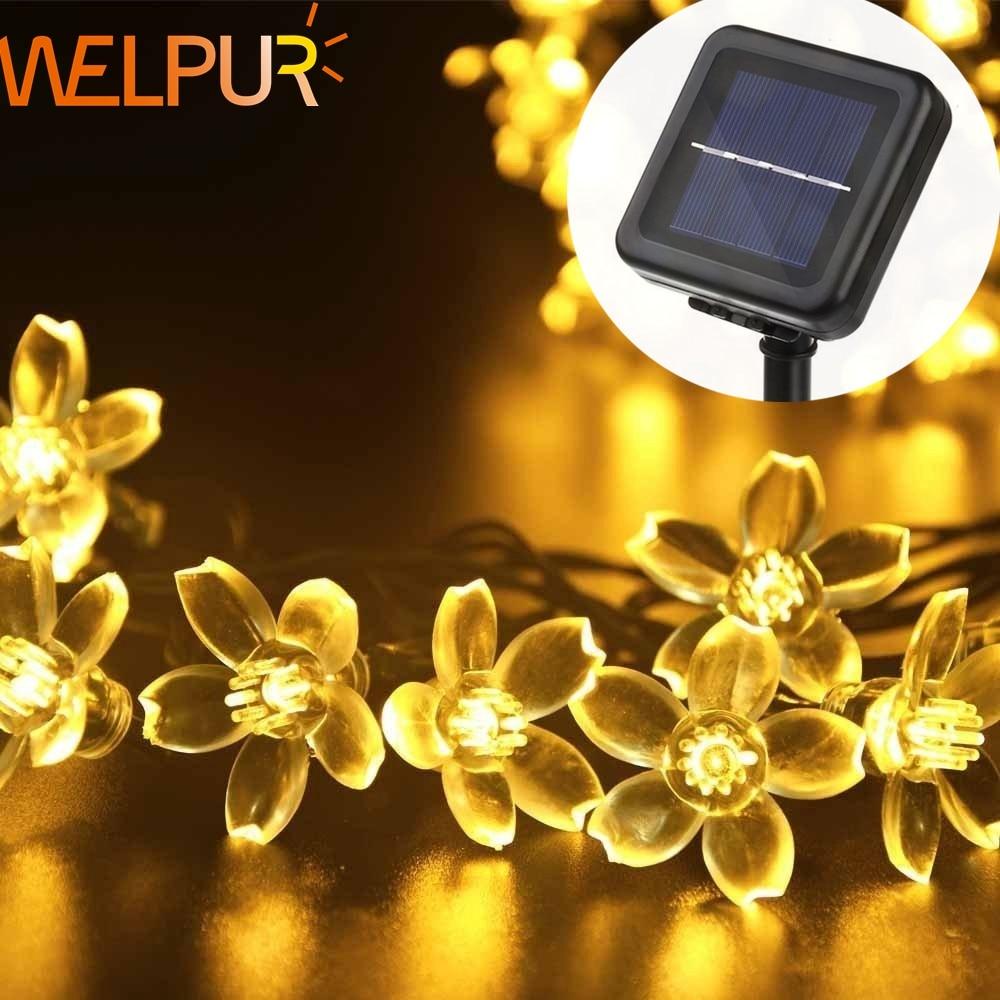Solar Garlands Light 5m 7m 12m Peach Flower Solar Lamp Power LED String Fairy Lights 6V  Garden Christmas Decor For Outdoor
