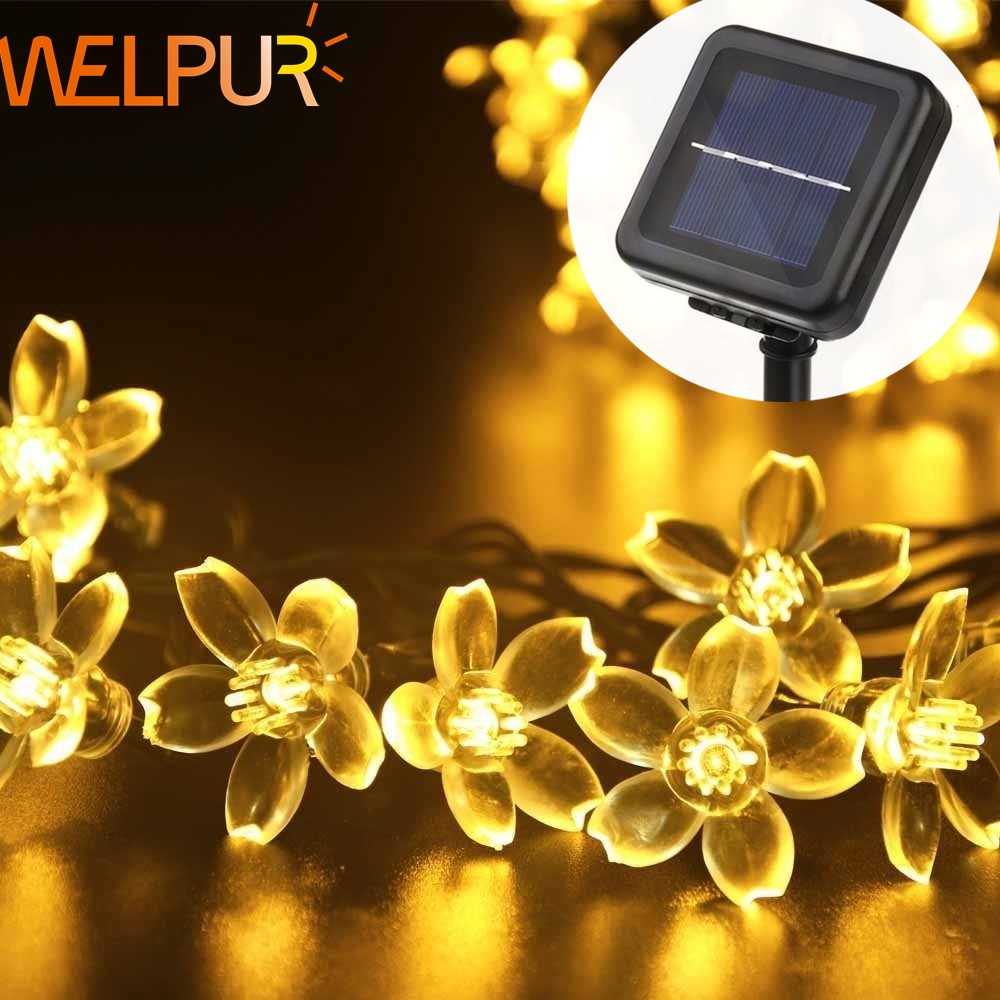 все цены на Welpur 5m 8m 12m Peach Flower Solar Lamp Power LED String Fairy Lights 6V Solar Garlands Garden Christmas Decor For Outdoor онлайн