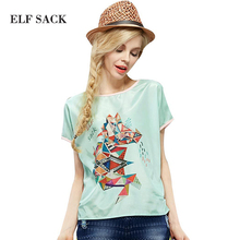 Elf Sack 2016 Fashion Brand New Arrival Young Girl Summer Geo Print Color Block Chiffon Shirt O-neck Free Shipping