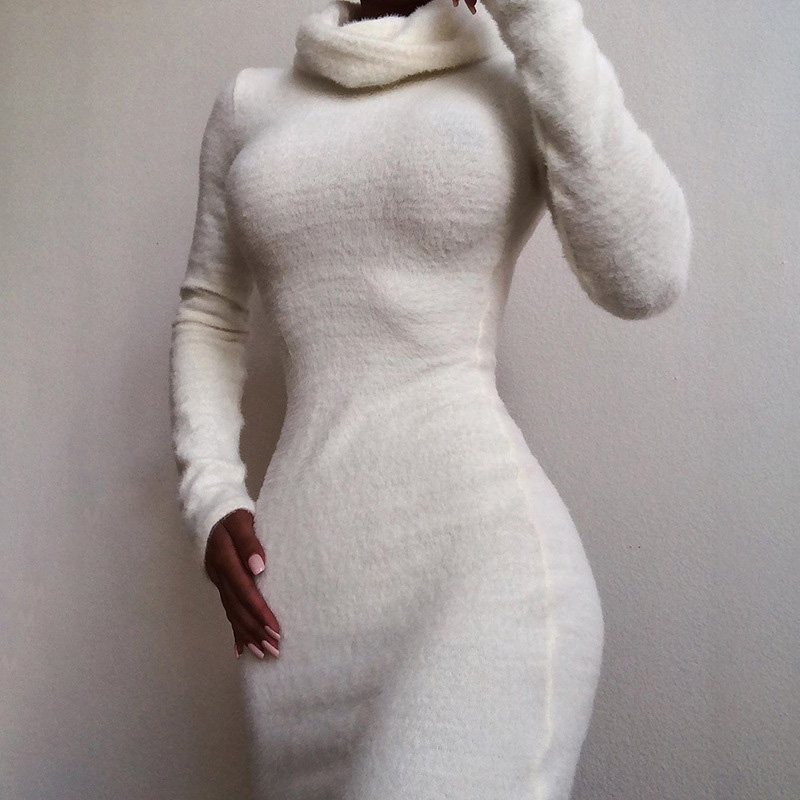 Fitshinling Winter Turtlenecks Fuzzy Dress Women Long Sleeve White Short Dresses Ladies Slim Bodycon Solid Sexy Vestidos Sale in Dresses from Women 39 s Clothing