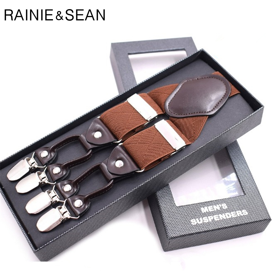 RAINIE SEAN Wedding Suspenders Men Vintage Braces 6 Clips Y Back British Style Solid 3.5CM Male Suspenders For Shirts Brown