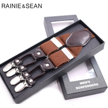 RAINIE SEAN Wedding Suspenders Men Vintage Braces 6 Clips Y Back British Style Solid 3.5CM Male For Shirts Brown